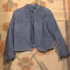Baby blue 100% leather jacket
